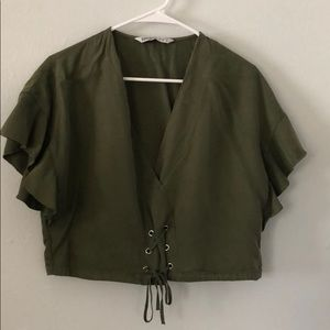 Green Zara crop top